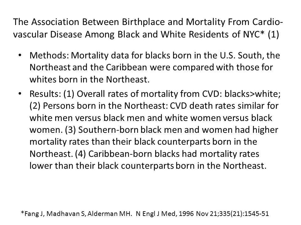 The Association Between Birthplace and Mortality From Cardio- vascular Disease Among Black and White Residents of NYC* (1) Methods: Mortality data for blacks born in the U.S.