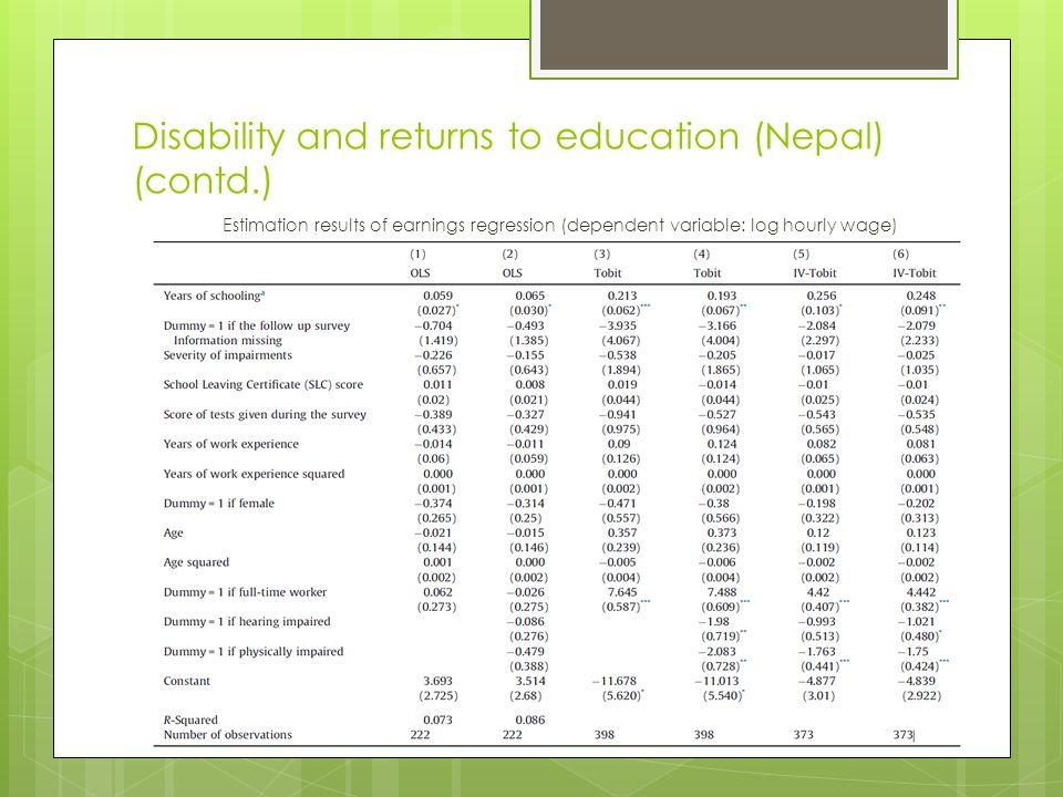 Disability and returns to education (Nepal) (contd.) Estimation results of earnings regression (dependent variable: log hourly wage)