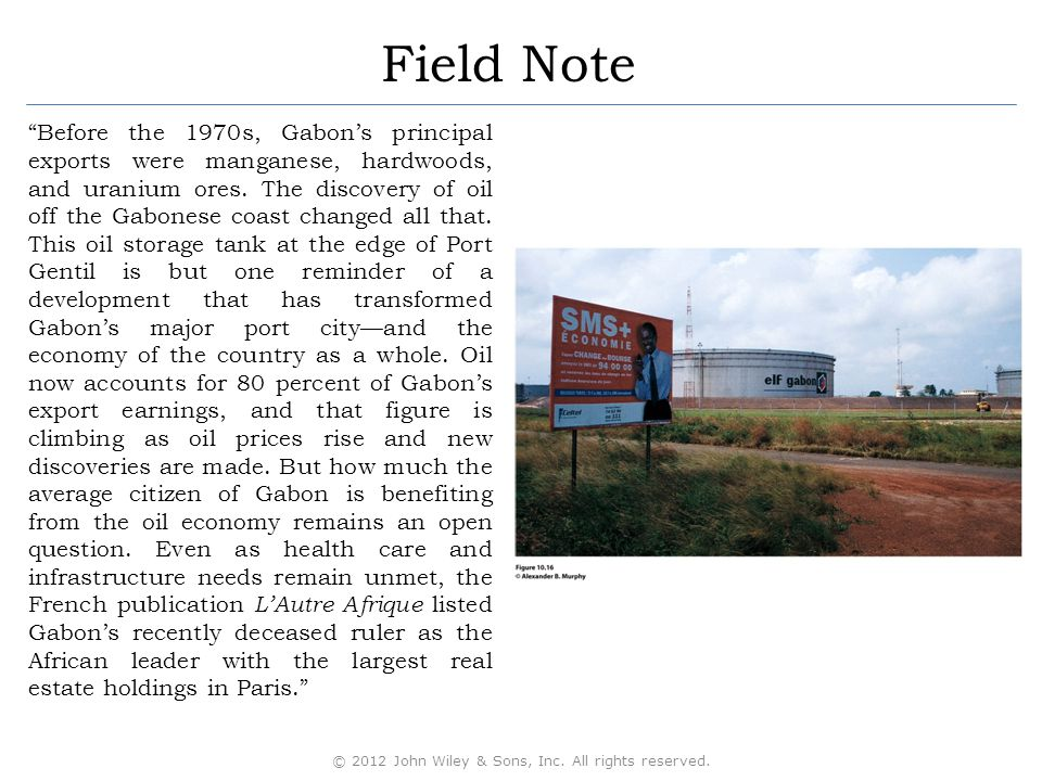 Field Note Before the 1970s, Gabon's principal exports were manganese, hardwoods, and uranium ores.