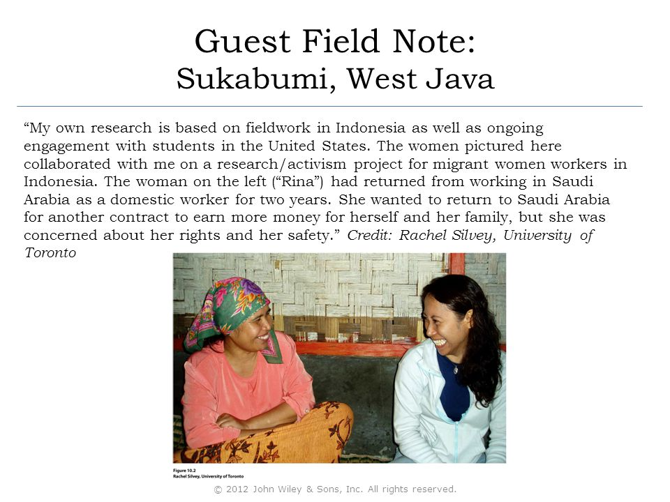 My own research is based on fieldwork in Indonesia as well as ongoing engagement with students in the United States.