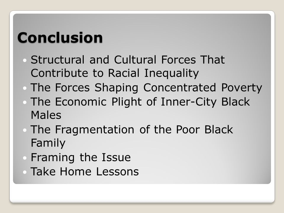 Conclusion Structural and Cultural Forces That Contribute to Racial Inequality The Forces Shaping Concentrated Poverty The Economic Plight of Inner-City Black Males The Fragmentation of the Poor Black Family Framing the Issue Take Home Lessons