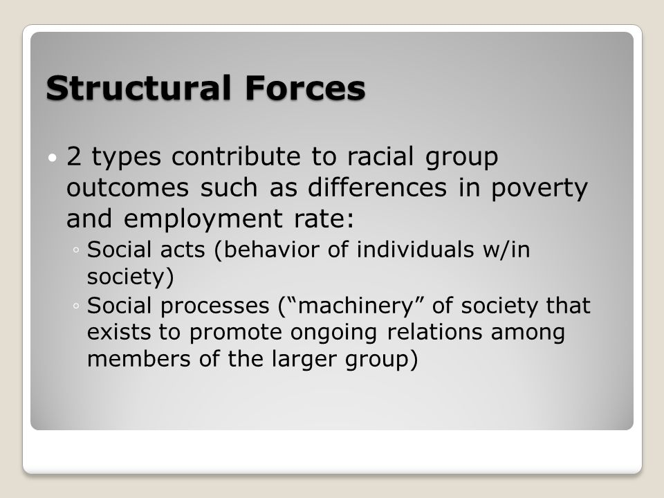 Structural Forces 2 types contribute to racial group outcomes such as differences in poverty and employment rate: ◦Social acts (behavior of individuals w/in society) ◦Social processes ( machinery of society that exists to promote ongoing relations among members of the larger group)