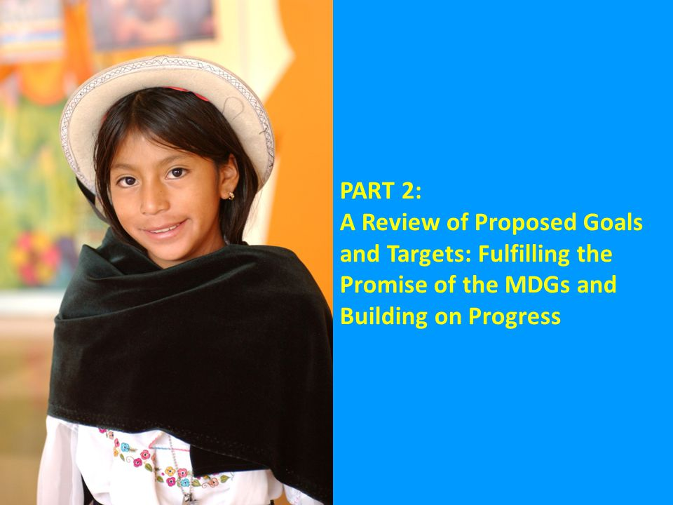 PART 2: A Review of Proposed Goals and Targets: Fulfilling the Promise of the MDGs and Building on Progress