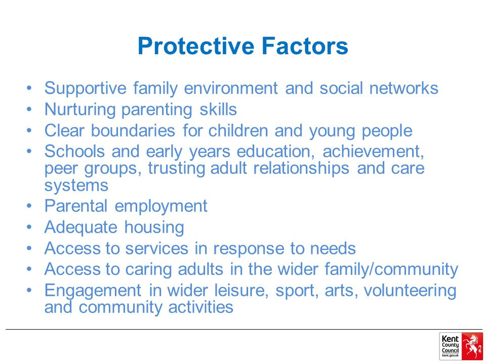 Protective Factors Supportive family environment and social networks Nurturing parenting skills Clear boundaries for children and young people Schools and early years education, achievement, peer groups, trusting adult relationships and care systems Parental employment Adequate housing Access to services in response to needs Access to caring adults in the wider family/community Engagement in wider leisure, sport, arts, volunteering and community activities