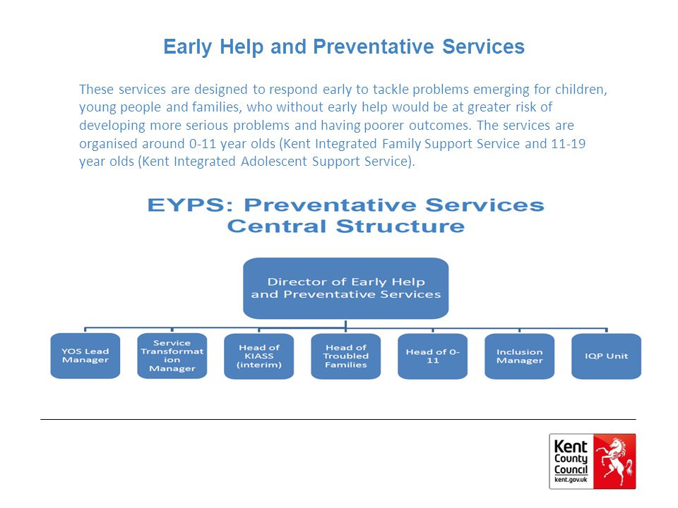 From April 2014 New services, integrated teams for every district with lead manager KIFSS (0-11) and KIASS (11-19), effectively 0-19 Single point of access, with refreshed early help assessment process that is more risk based and case manager for each case Key workers and teams wrapped around schools Easier access to a range of services and interventions