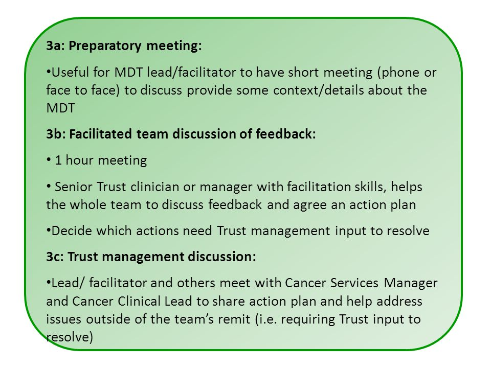 3a: Preparatory meeting: Useful for MDT lead/facilitator to have short meeting (phone or face to face) to discuss provide some context/details about the MDT 3b: Facilitated team discussion of feedback: 1 hour meeting Senior Trust clinician or manager with facilitation skills, helps the whole team to discuss feedback and agree an action plan Decide which actions need Trust management input to resolve 3c: Trust management discussion: Lead/ facilitator and others meet with Cancer Services Manager and Cancer Clinical Lead to share action plan and help address issues outside of the team's remit (i.e.