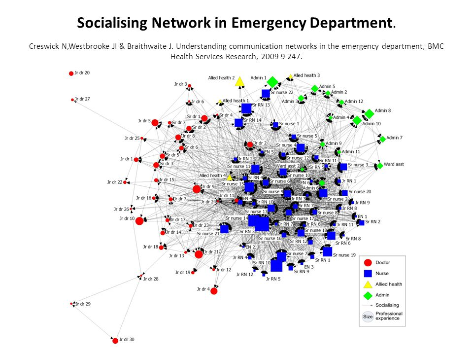 Socialising Network in Emergency Department. Creswick N,Westbrooke JI & Braithwaite J.