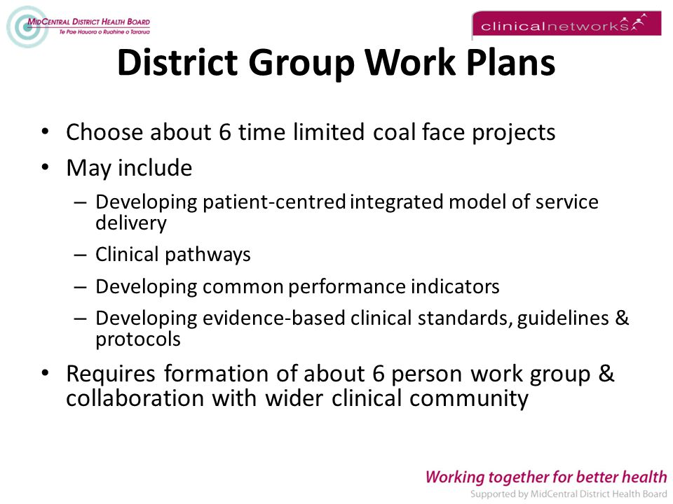 District Group Work Plans Choose about 6 time limited coal face projects May include – Developing patient-centred integrated model of service delivery – Clinical pathways – Developing common performance indicators – Developing evidence-based clinical standards, guidelines & protocols Requires formation of about 6 person work group & collaboration with wider clinical community