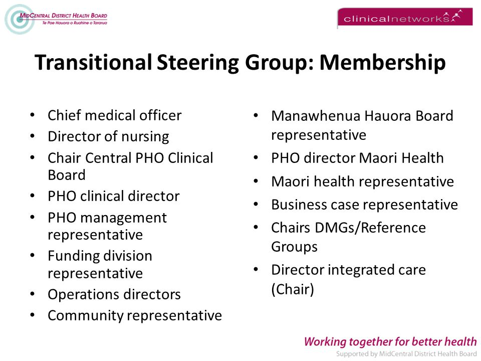 Transitional Steering Group: Membership Chief medical officer Director of nursing Chair Central PHO Clinical Board PHO clinical director PHO management representative Funding division representative Operations directors Community representative Manawhenua Hauora Board representative PHO director Maori Health Maori health representative Business case representative Chairs DMGs/Reference Groups Director integrated care (Chair)