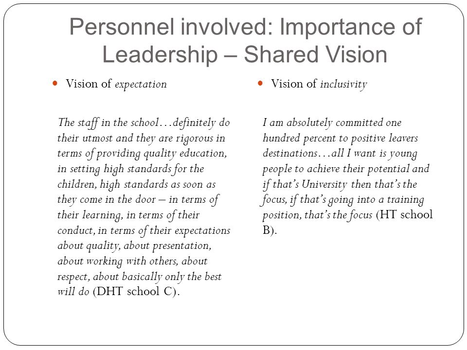 Personnel involved: Importance of Leadership – Shared Vision Vision of expectation The staff in the school…definitely do their utmost and they are rig