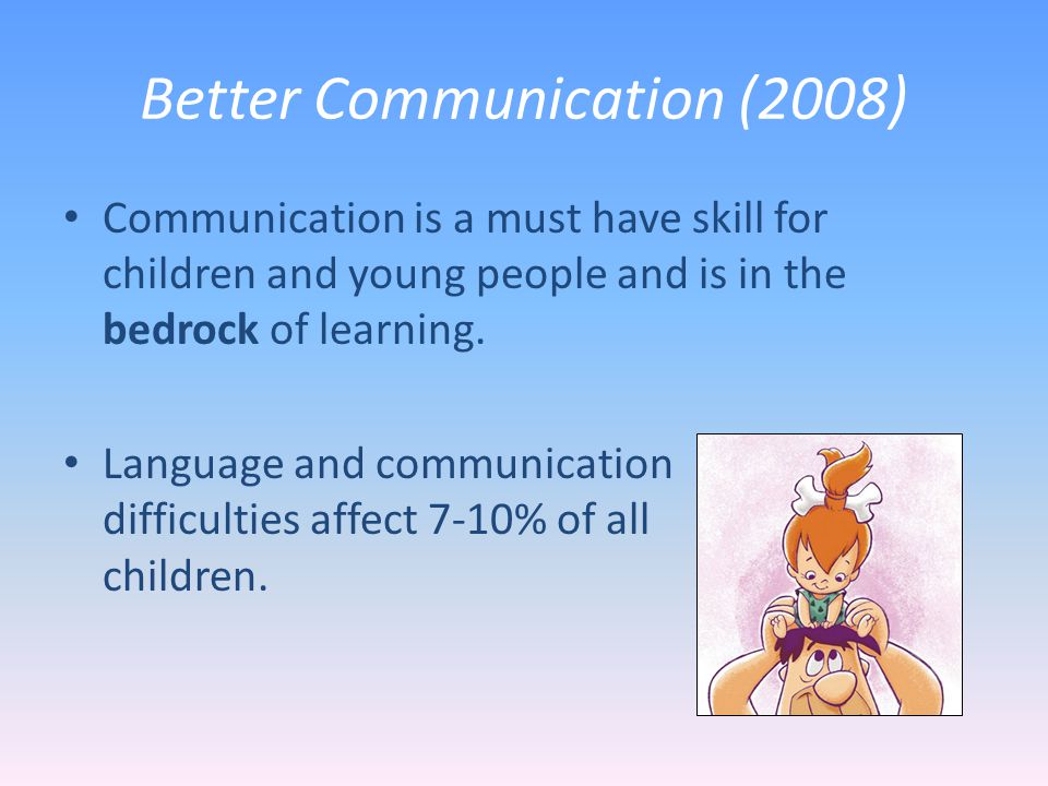 Better Communication (2008) Communication is a must have skill for children and young people and is in the bedrock of learning.