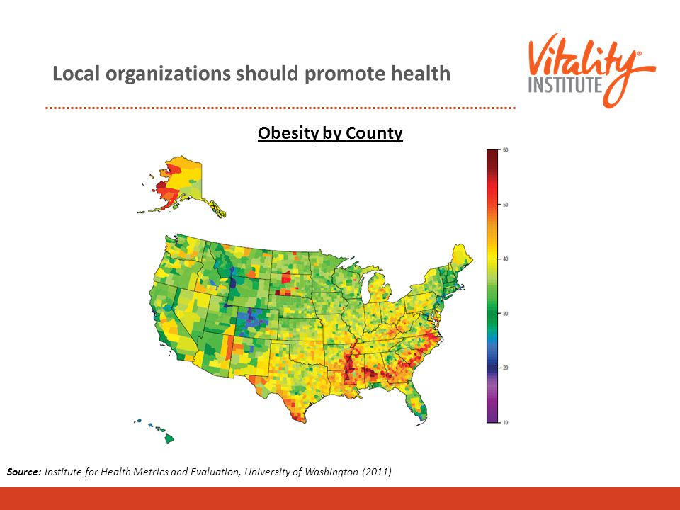 Local organizations should promote health Source: Institute for Health Metrics and Evaluation, University of Washington (2011) Obesity by County