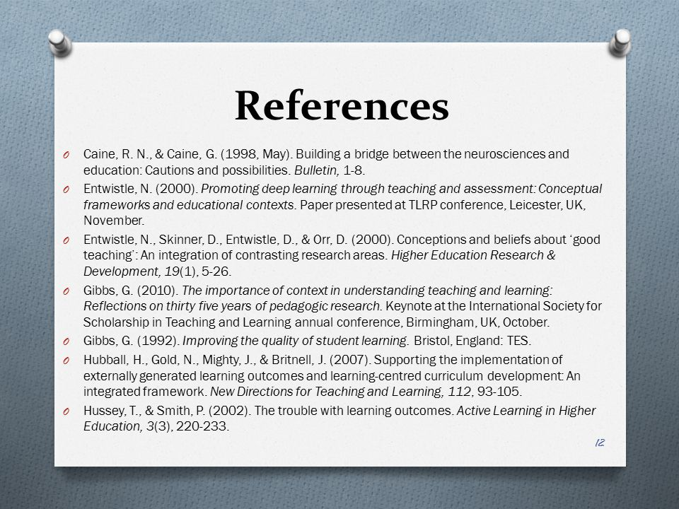 References O Caine, R. N., & Caine, G. (1998, May).
