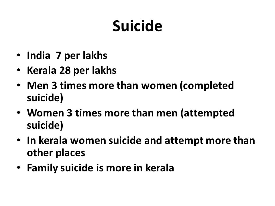 Suicide India 7 per lakhs Kerala 28 per lakhs Men 3 times more than women (completed suicide) Women 3 times more than men (attempted suicide) In kerala women suicide and attempt more than other places Family suicide is more in kerala