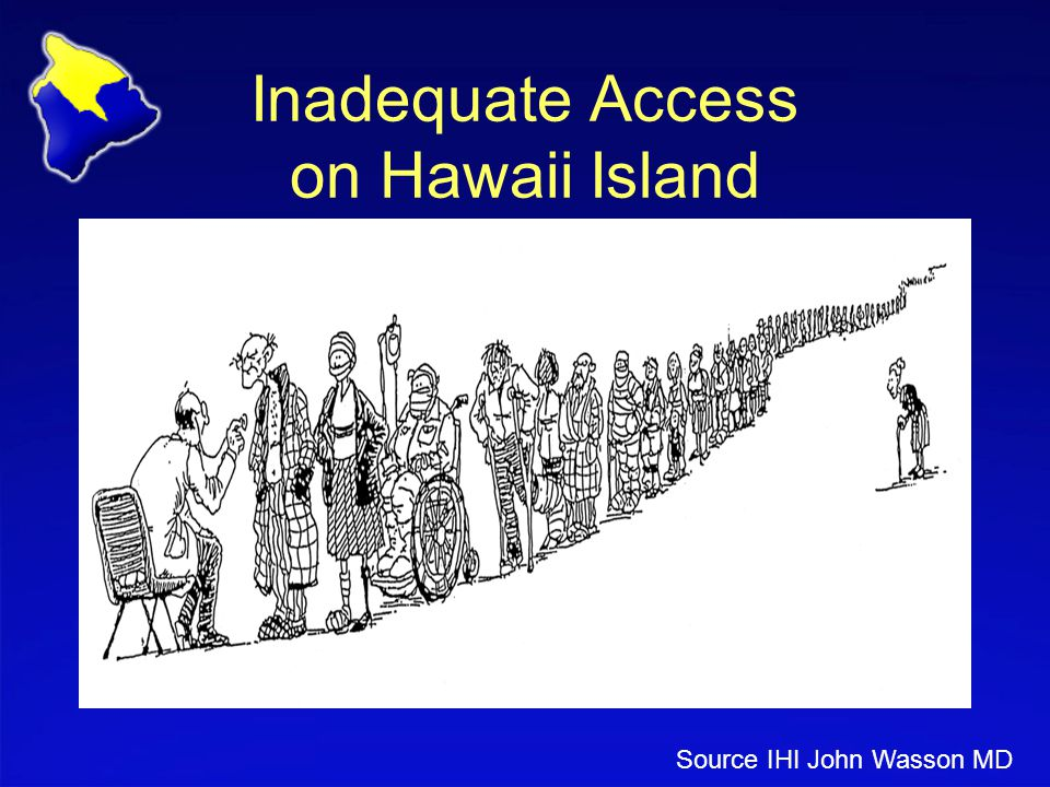 Inadequate Access on Hawaii Island Source IHI John Wasson MD