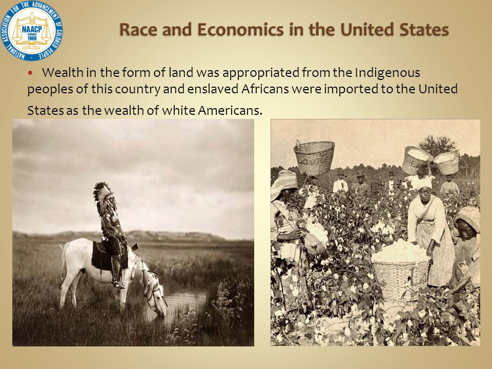Wealth in the form of land was appropriated from the Indigenous peoples of this country and enslaved Africans were imported to the United States as the wealth of white Americans.