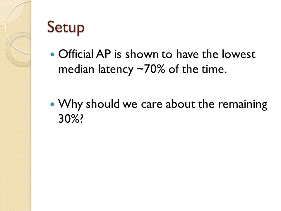Setup Official AP is shown to have the lowest median latency ~70% of the time.
