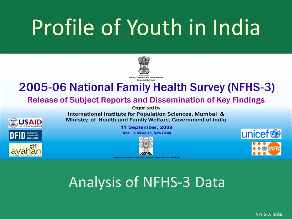 Profile of Youth in India NFHS-3, India Analysis of NFHS-3 Data