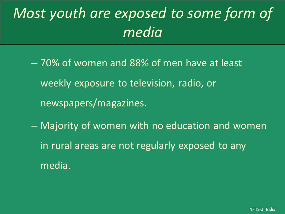 Most youth are exposed to some form of media – 70% of women and 88% of men have at least weekly exposure to television, radio, or newspapers/magazines