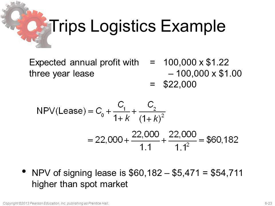 6-23Copyright ©2013 Pearson Education, Inc. publishing as Prentice Hall. Trips Logistics Example Expected annual profit with three year lease ==== 100