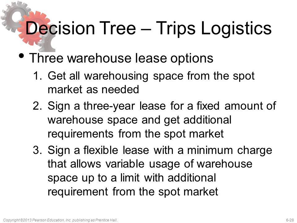 6-28Copyright ©2013 Pearson Education, Inc. publishing as Prentice Hall. Decision Tree – Trips Logistics Three warehouse lease options 1.Get all wareh