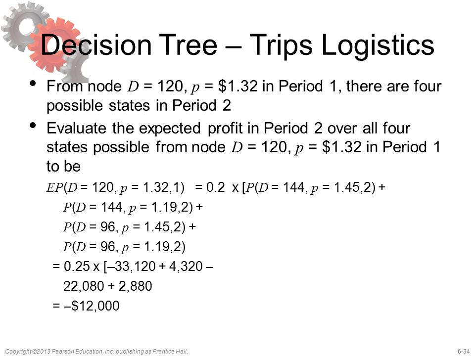 6-34Copyright ©2013 Pearson Education, Inc. publishing as Prentice Hall. Decision Tree – Trips Logistics From node D = 120, p = $1.32 in Period 1, the