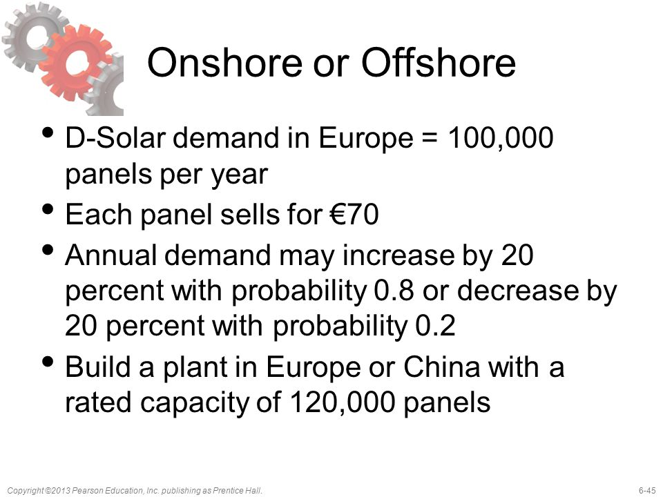 6-45Copyright ©2013 Pearson Education, Inc. publishing as Prentice Hall. Onshore or Offshore D-Solar demand in Europe = 100,000 panels per year Each p