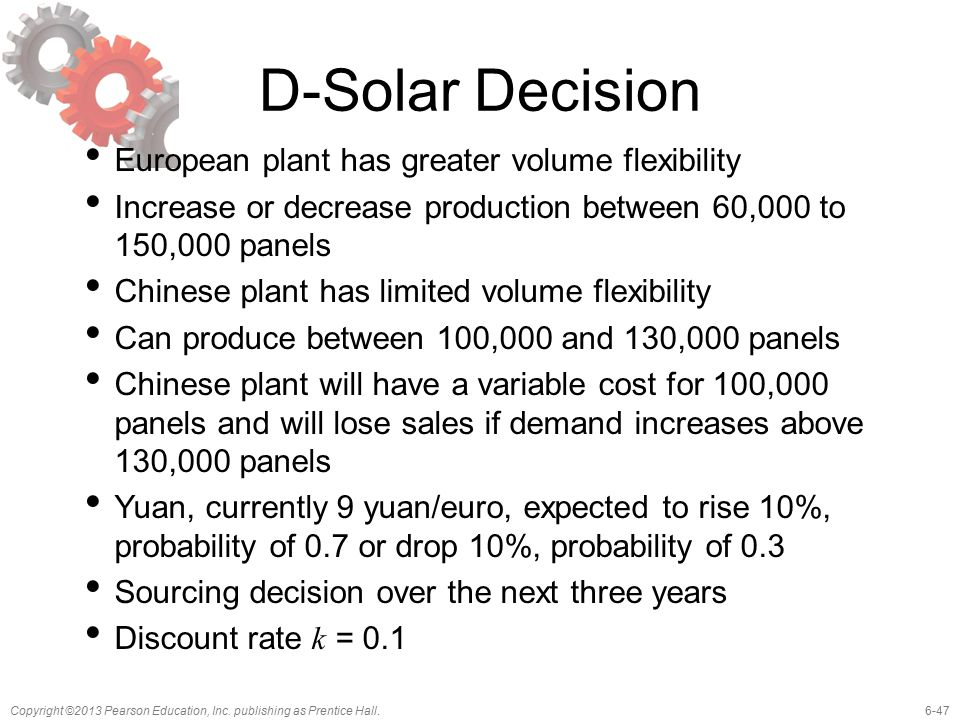 6-47Copyright ©2013 Pearson Education, Inc. publishing as Prentice Hall. D-Solar Decision European plant has greater volume flexibility Increase or de