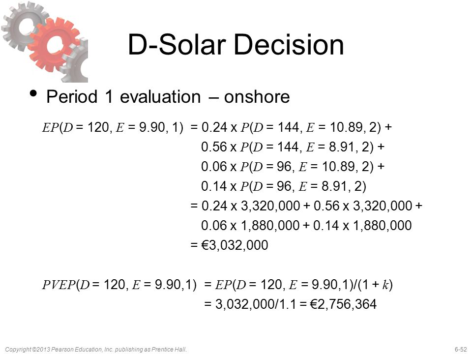 6-52Copyright ©2013 Pearson Education, Inc. publishing as Prentice Hall. D-Solar Decision Period 1 evaluation – onshore EP ( D = 120, E = 9.90, 1)= 0.