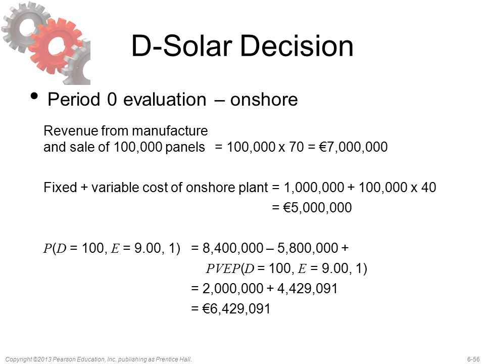 6-56Copyright ©2013 Pearson Education, Inc. publishing as Prentice Hall. D-Solar Decision Period 0 evaluation – onshore Revenue from manufacture and s