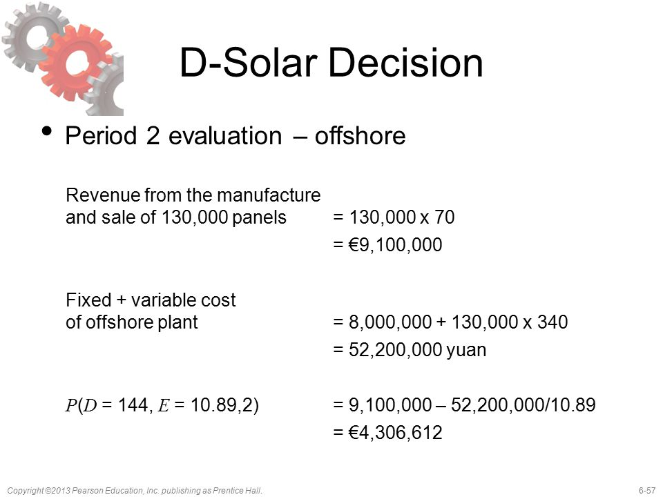 6-57Copyright ©2013 Pearson Education, Inc. publishing as Prentice Hall. D-Solar Decision Period 2 evaluation – offshore Revenue from the manufacture
