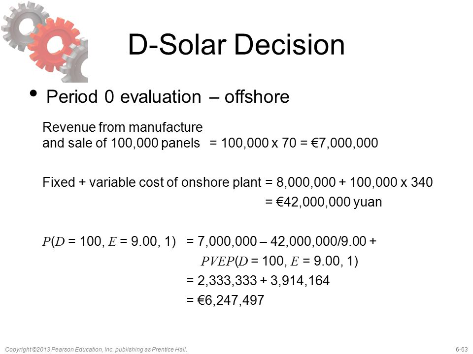 6-63Copyright ©2013 Pearson Education, Inc. publishing as Prentice Hall. D-Solar Decision Period 0 evaluation – offshore Revenue from manufacture and