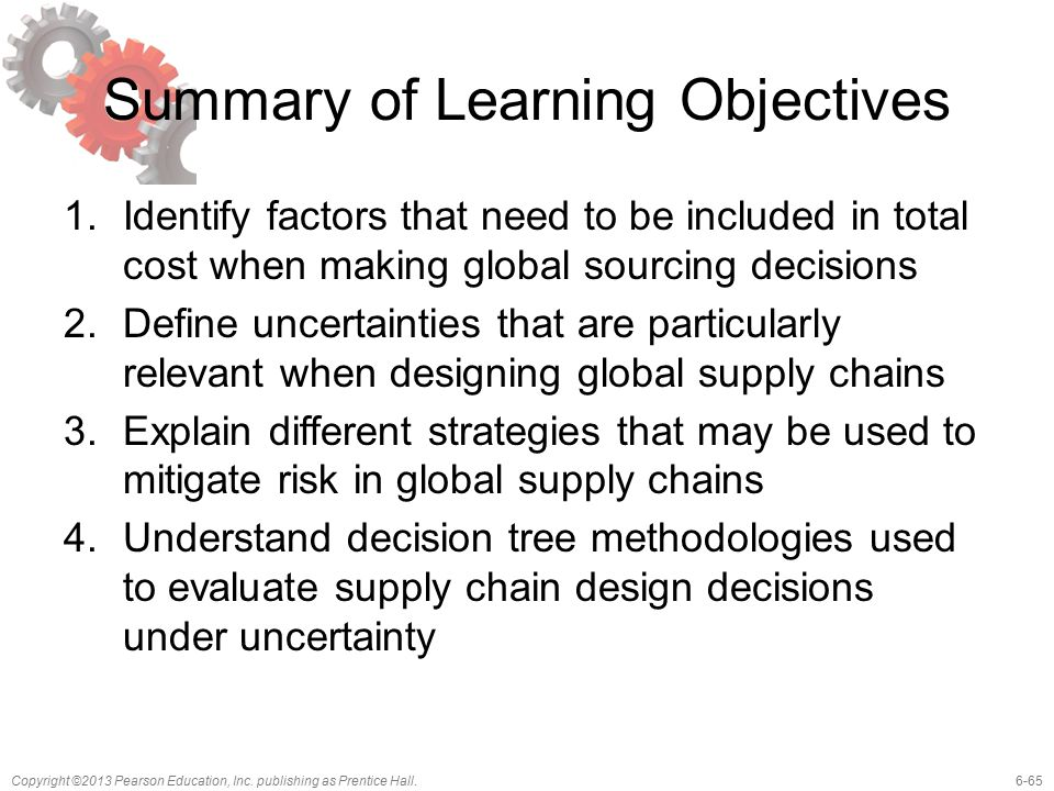 6-65Copyright ©2013 Pearson Education, Inc. publishing as Prentice Hall. Summary of Learning Objectives 1.Identify factors that need to be included in