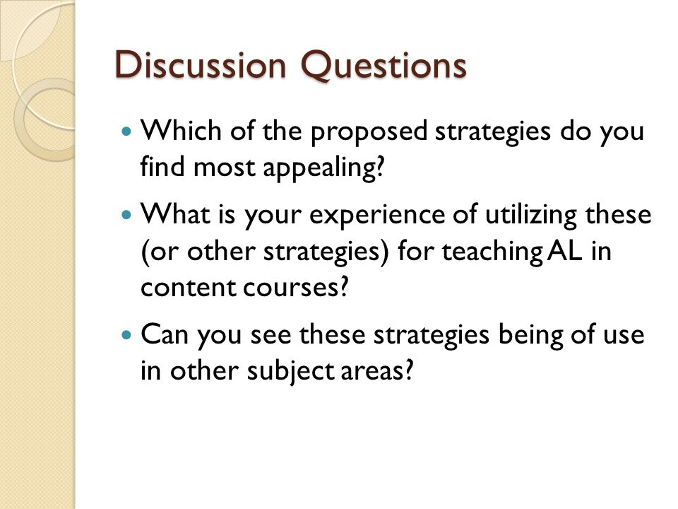 Discussion Questions Which of the proposed strategies do you find most appealing.