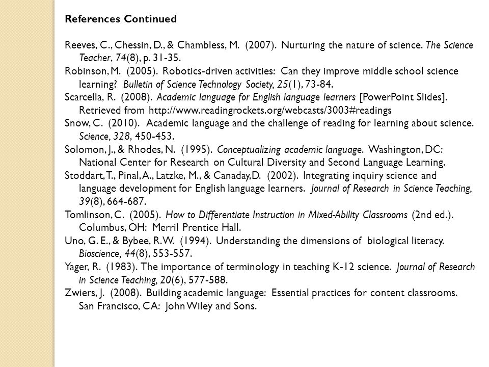 References Continued Reeves, C., Chessin, D., & Chambless, M.