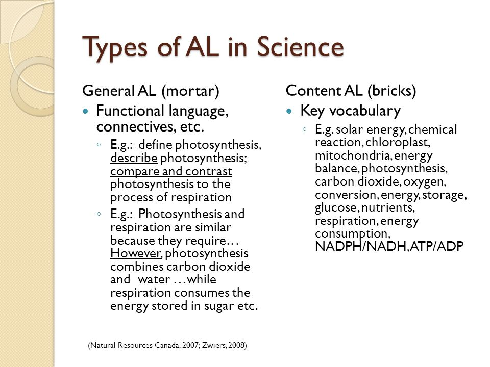 Types of AL in Science General AL (mortar) Functional language, connectives, etc.