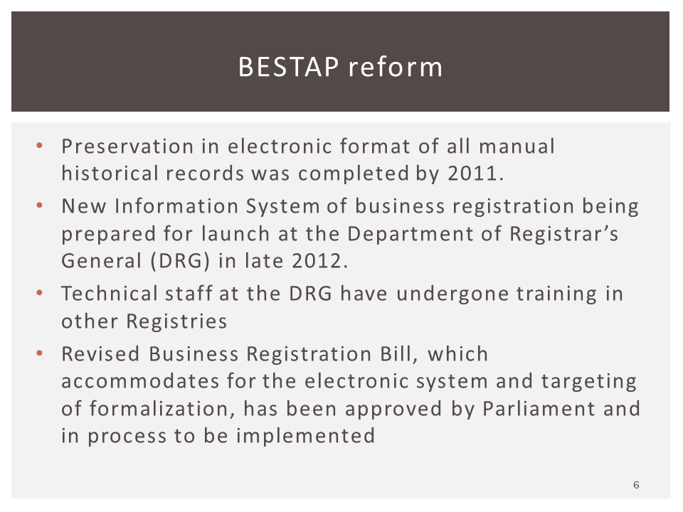 Preservation in electronic format of all manual historical records was completed by 2011.