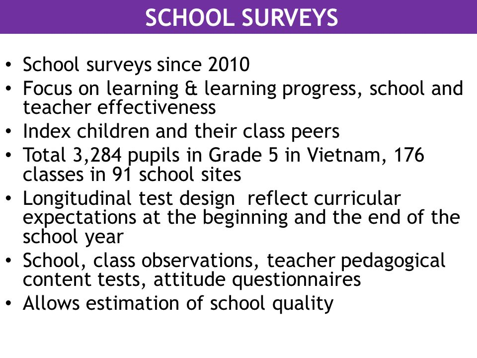 School surveys since 2010 Focus on learning & learning progress, school and teacher effectiveness Index children and their class peers Total 3,284 pup