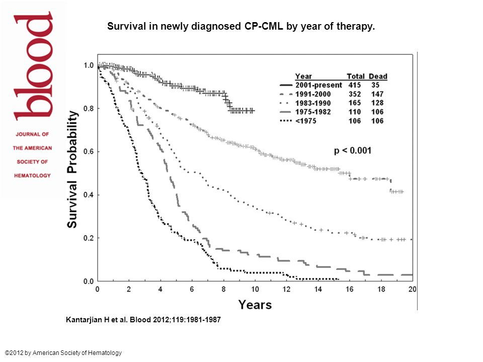 Survival in newly diagnosed CP-CML by year of therapy.