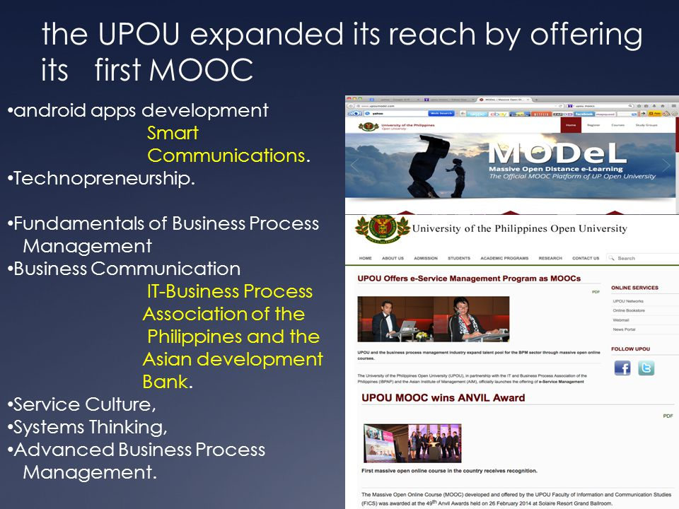 the UPOU expanded its reach by offering its first MOOC android apps development Smart Communications.