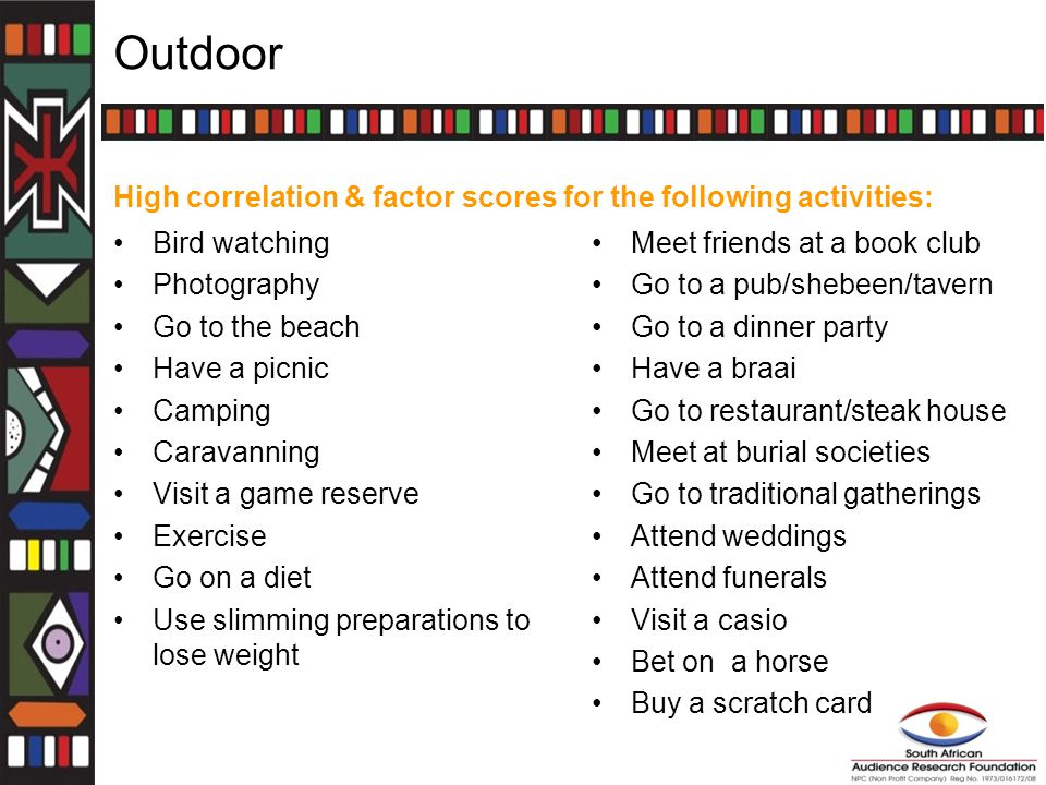 Outdoor High correlation & factor scores for the following activities: Bird watching Photography Go to the beach Have a picnic Camping Caravanning Visit a game reserve Exercise Go on a diet Use slimming preparations to lose weight Meet friends at a book club Go to a pub/shebeen/tavern Go to a dinner party Have a braai Go to restaurant/steak house Meet at burial societies Go to traditional gatherings Attend weddings Attend funerals Visit a casio Bet on a horse Buy a scratch card