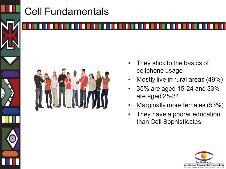 Cell Fundamentals They stick to the basics of cellphone usage Mostly live in rural areas (49%) 35% are aged 15-24 and 33% are aged 25-34 Marginally more females (53%) They have a poorer education than Cell Sophisticates