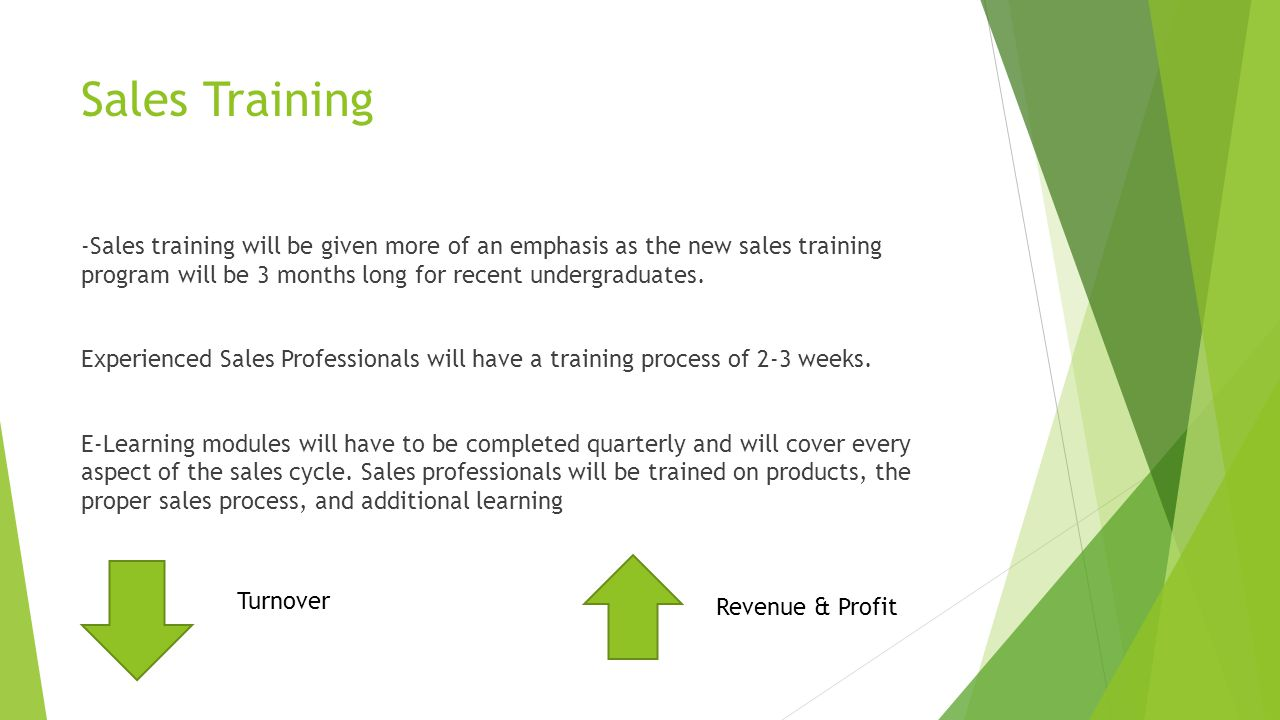 Sales Training -Sales training will be given more of an emphasis as the new sales training program will be 3 months long for recent undergraduates.