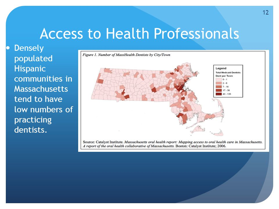 Access to Health Professionals Densely populated Hispanic communities in Massachusetts tend to have low numbers of practicing dentists.