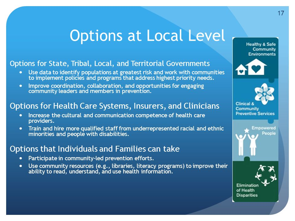 Options at Local Level Options for State, Tribal, Local, and Territorial Governments Use data to identify populations at greatest risk and work with communities to implement policies and programs that address highest priority needs.
