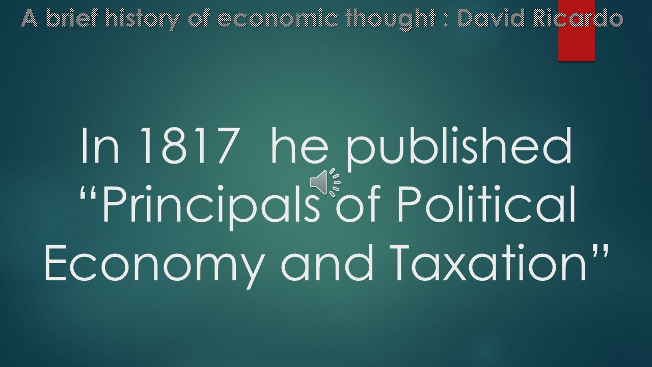 """In 1815 he published """"An Essay on the Influence of a Low Price of Corn on the Profits of Stock"""""""