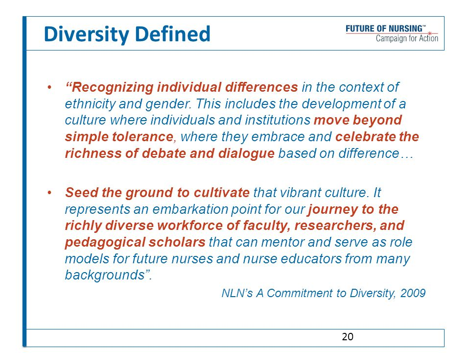 Diversity Defined Recognizing individual differences in the context of ethnicity and gender.