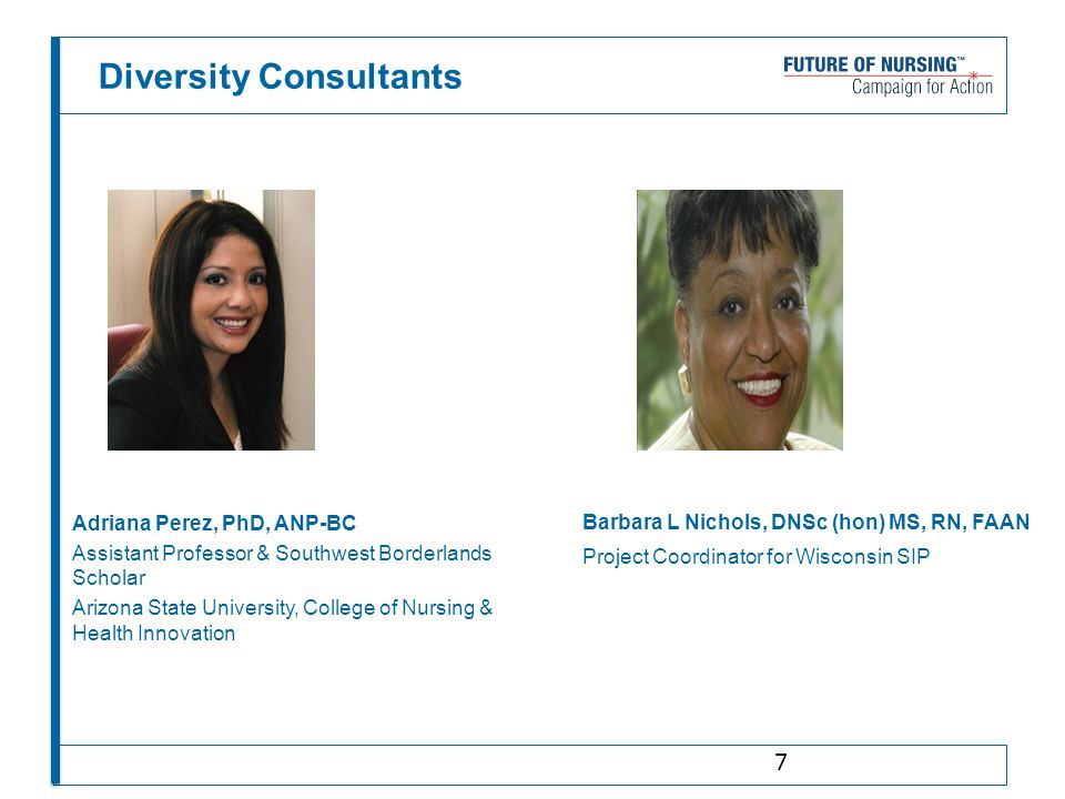 Diversity Consultants Adriana Perez, PhD, ANP-BC Assistant Professor & Southwest Borderlands Scholar Arizona State University, College of Nursing & He