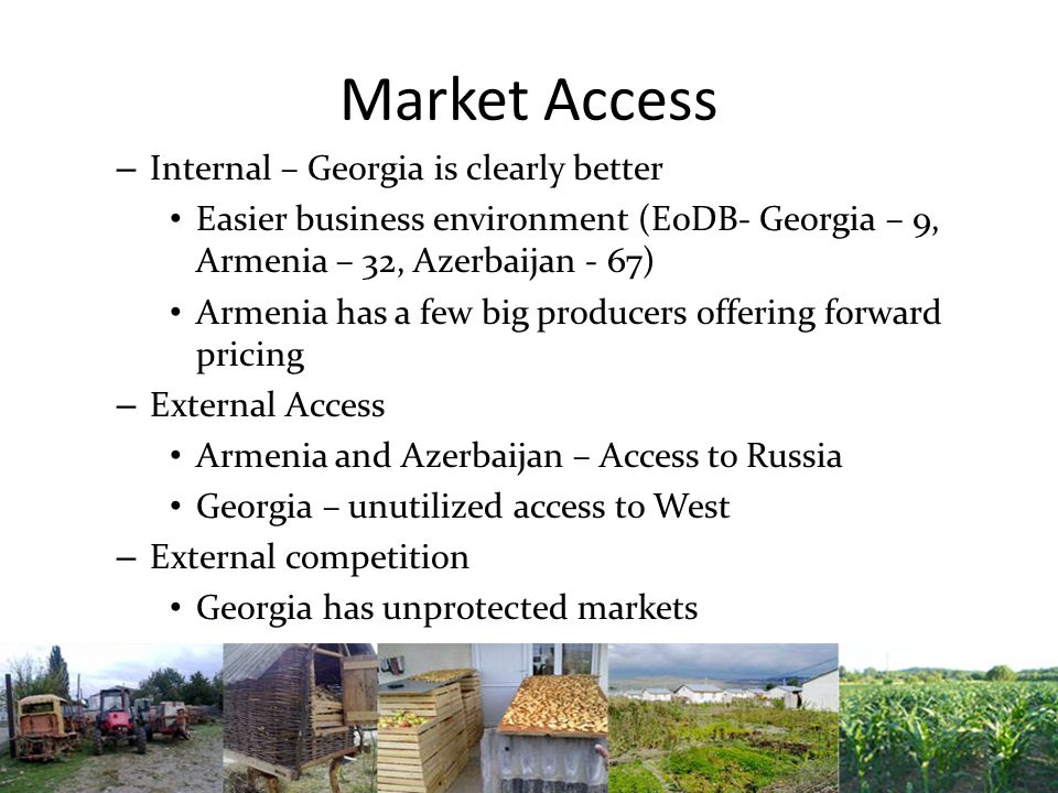 Market Access – Internal – Georgia is clearly better Easier business environment (E0DB- Georgia – 9, Armenia – 32, Azerbaijan - 67) Armenia has a few big producers offering forward pricing – External Access Armenia and Azerbaijan – Access to Russia Georgia – unutilized access to West – External competition Georgia has unprotected markets