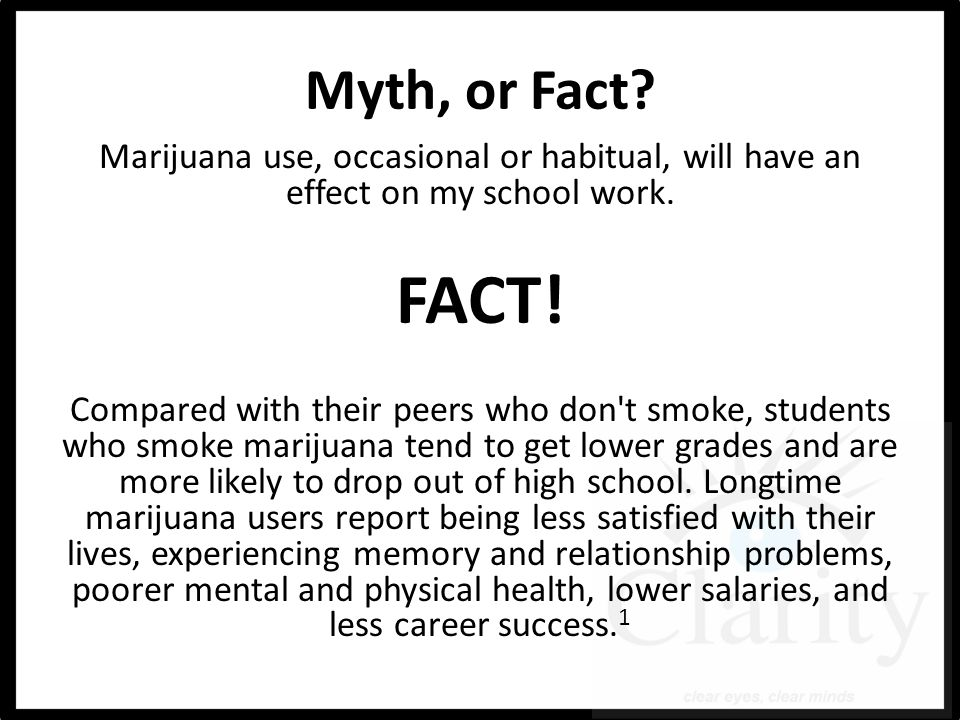 Myth, or Fact. Marijuana use, occasional or habitual, will have an effect on my school work.